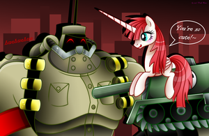CROSSOVER: Panzerfaust and Lauren Faust Pony by Carueniiju