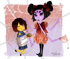 Undertale Muffet and Frisk by xX0015Xx