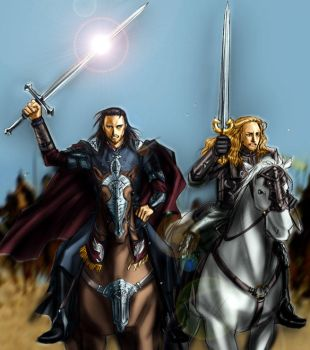 Aragorn and Eomer to battle by idolwild