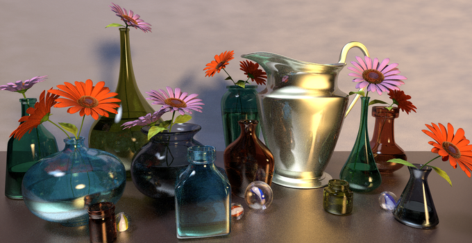 Colored Glass Bottles Still-Life by paulrich
