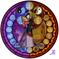 Stained Glass: Mulan by Akili-Amethyst