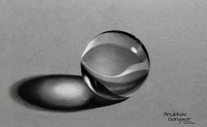 Marble Ball - Drawing by Anubhavg
