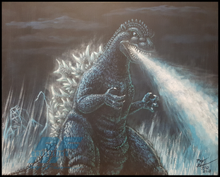 Gojira 1954 painting by AlmightyRayzilla