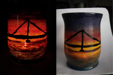 Sunset behind bridge Painted Candle by VerbumX