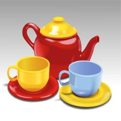 teapot and tea cups by QuicheLoraine