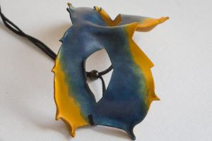 Blue and Yellow Leather Mask by OsborneArts