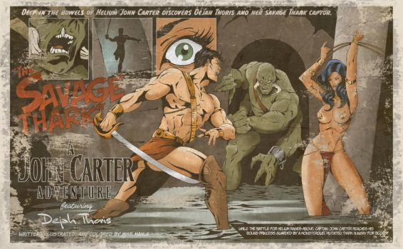 John Carter-The Savage Thark-distressed by MikeMahle