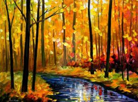 Fall Stream by Leonid Afremov by Leonidafremov