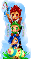 Happy Easter (Chibi Striaton Bros) by LittleOcean