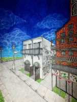 1st Challenge: 2 Point Perspective Street by vt2000