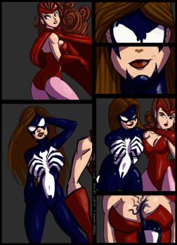 Spider-woman / Scarlet Witch Commisson pt 1 by kaioutei