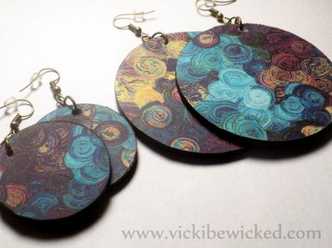 Abstract Spiral Handmade Wooden earrings by VickiBeWicked