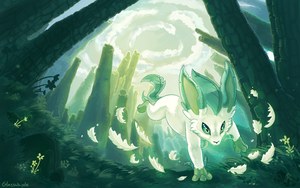 Leafeon Desktop Background by Glasswhistle