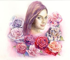 Girl with Roses by MaddySwan