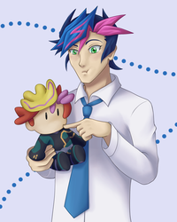 Yusaku with Playmaker doll by BlackThunder-chan