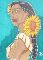 Pocahontas with Sunflowers in her hair by happyeverafter