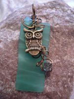 Wire Wrapped Owl Pendant with Sea Glass by DaisyLeeDesigns