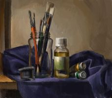 Still life with oil paint tube by Emil-K