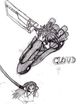 FF7AC: Cloud Kirby by GBAKirbster2007