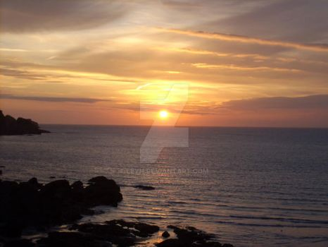 Sunset over Combe Martin by Leyh