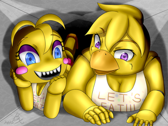 Chica and Toy Chica by 40450