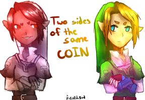 Two Sides of the Same Coin by katcatlinkattack