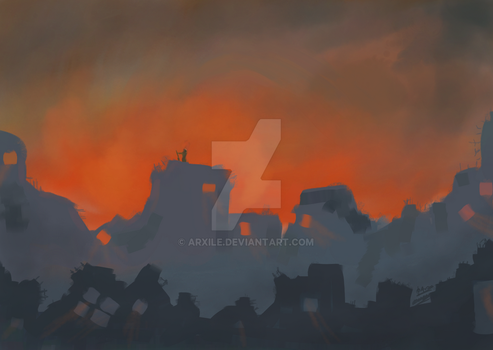 Sunset on the Apocalypse by Arxile