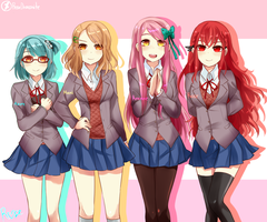 Doki Doki literature Club! Ocs by RoseDraconite