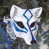 Blue Okami Leather Mask by merimask