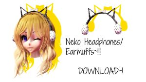 .: Neko Headphones/Earmuffs ~! [Download~! ] by CinnamonBunBunny