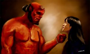Hellboy and Liz by Kredepops