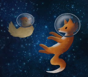 Animals in space :gif: by dragnilu