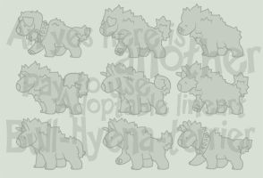 Bull-hyena-terrier adoptable lineart (pay to use) by Shegoran