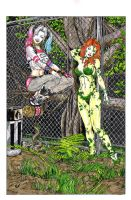 Harley Quinn / Poison Ivy - China inks paint by DeanJuliette