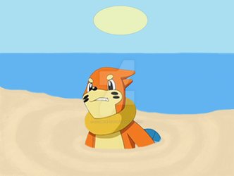 Buizel in Quicksand (Request) by CosmicRay25