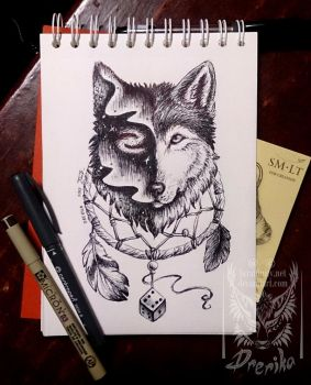 Prize: Wolf of the Dreams tattoo design by Drerika