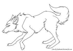Free-use Wolf Line-art by Ghulhund