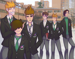 EddsWorld School AU by Dirhaele