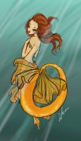 gold mermaid by BexHappy