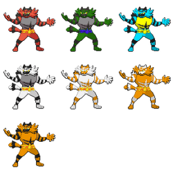 Incineroar Sprite Recolors - What's your favorite? by YellowCoolPokemonMan