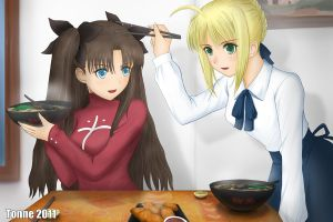 Fate Stay Night Saber X Rin by tonnelee