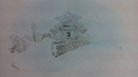 Temple in a snowstorm by Darvel