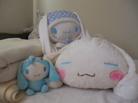 my cinnamoroll  plushies by chibilover716