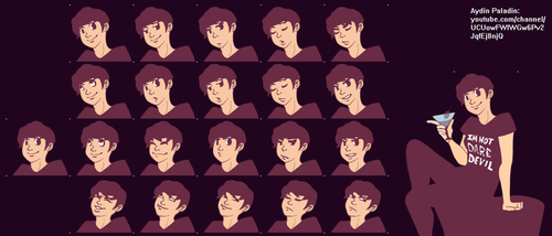 Aydin Paladin cartoon avatar facial expressions by Jack-the-Dipper