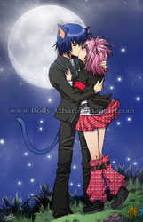 Kiss under the moonlight by Rolly-Chan