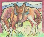 ACEO waiting Paint horse by jupiterjenny