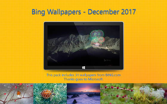 Bing Wallpapers - December 2017 by Misaki2009