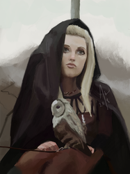 Owl and a girl in a black robe by Klaritaa