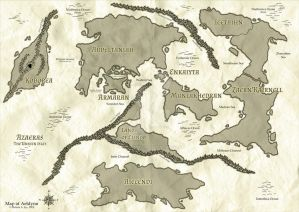 Aeldynn World Map (Stained Parchment)