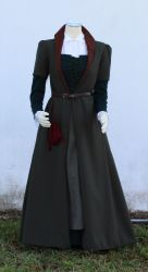 Olive Wool Fitted Gown by CenturiesSewing